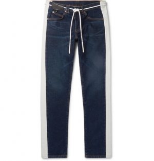 Off-White - Slim-Fit Striped Denim Jeans - Men - Indigo