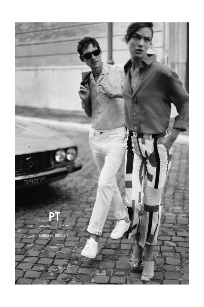 Taking in the sights of Rome, Roch Barbot and Lisa Fratani star in PT Pantaloni Torino's spring-summer 2019 campaign.