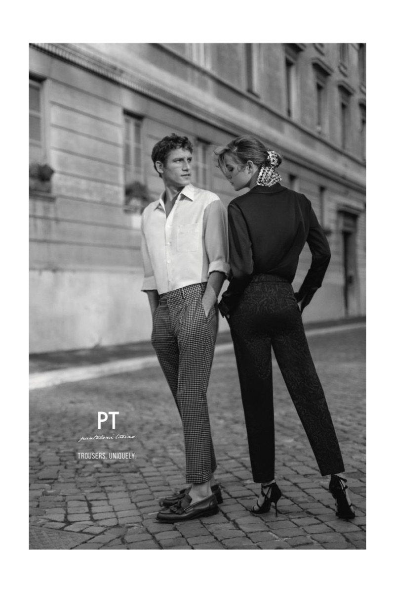 Roch Barbot and Lisa Fratani appear in PT Pantaloni Torino's spring-summer 2019 campaign.