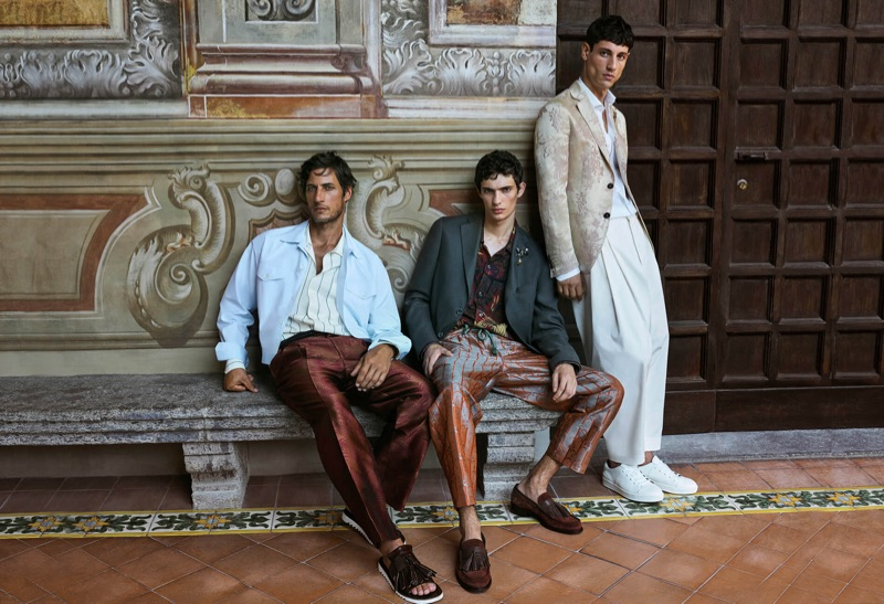 Models Axel Hermann, Piero Mendez, and Nicolas Ripoll front Pal Zileri's spring-summer 2019 campaign.