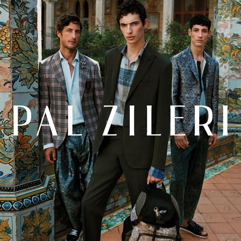 Pal Zileri enlists models Axel Hermann, Piero Mendez, and Nicolas Ripoll as the stars of its spring-summer 2019 campaign.