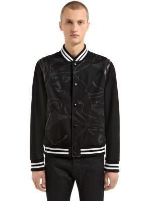 Panther Leather & Wool Varsity Jacket