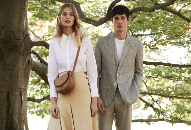 Models Vanessa Axente and Nicolas Ripoll sport sleek styles from Pedro del Hierro.
