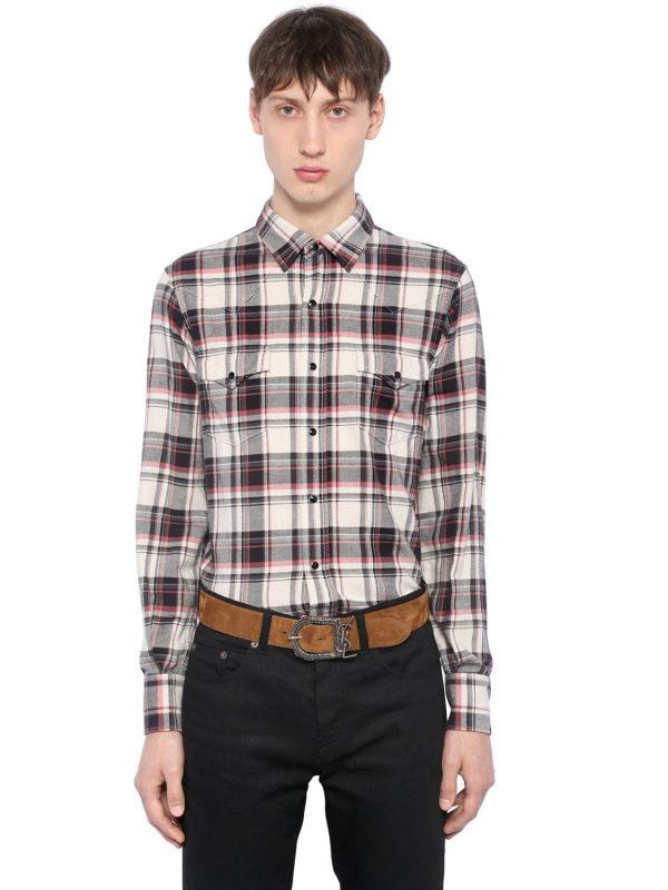 Plaid Cotton Flannel Western Shirt