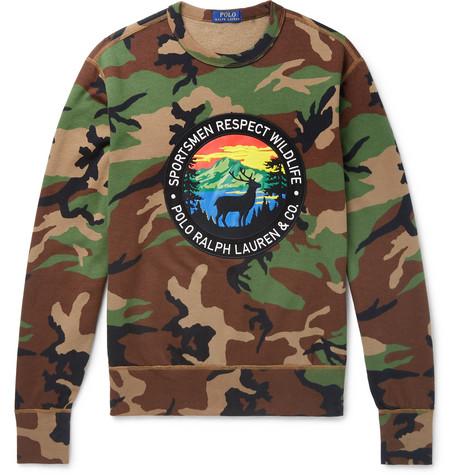 Polo Ralph Lauren - Logo-Appliquéd Camouflage-Print Fleece-Back Cotton-Blend Jersey Sweatshirt - Men - Army green