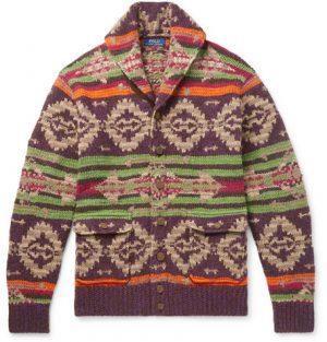 Polo Ralph Lauren - Shawl-Collar Suede-Trimmed Fair Isle Knitted Cardigan - Men - Multi