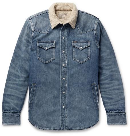 Polo Ralph Lauren - Sherpa-Lined Denim Western Shirt Jacket - Men - Mid denim