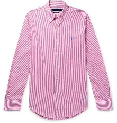 Polo Ralph Lauren - Slim-Fit Button-Down Collar Striped Cotton-Poplin Shirt - Men - Pink