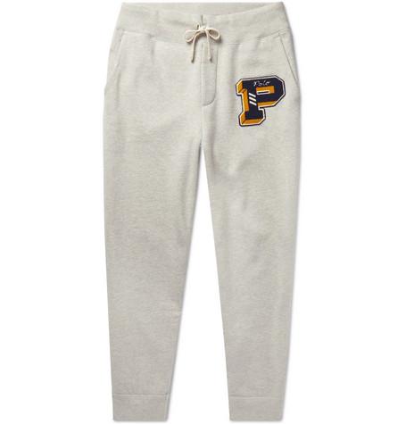 4e02411d1a6f Polo Ralph Lauren – Tapered Logo-Appliquéd Mélange Fleece-Back Cotton-Blend Jersey  Sweatpants – Men – Gray