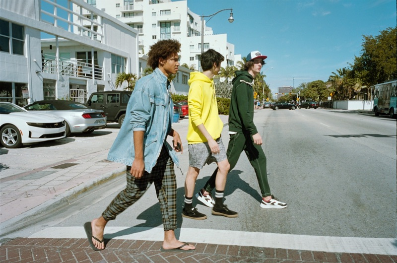 Models Miles Anderson, Claude Morgan, and Niks Gerbasevskis star in a spring outing for Pull & Bear.