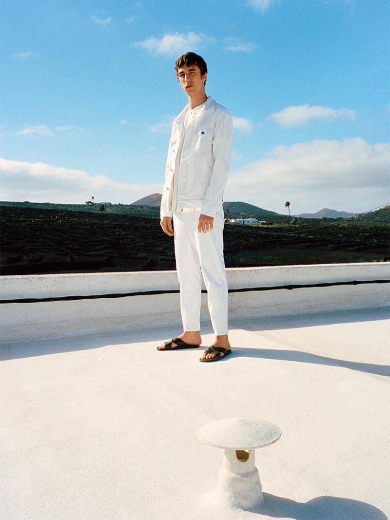 Embracing all white, Baptiste Zysman sports denim from Reserved's new collection.