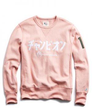"Reverse Weave Japanese ""Champion"" Sweatshirt in Melrose Pink"