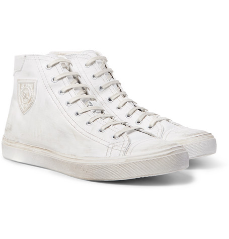 Saint Laurent - Bedford Distressed Leather High-Top Sneakers - Men - White