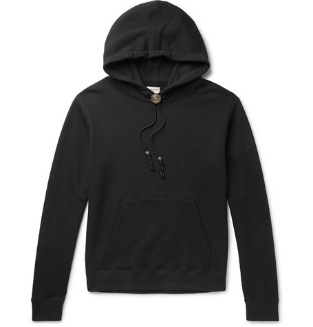 Saint Laurent - Bolo Tie Leather-Trimmed Loopback Cotton-Jersey Hoodie - Men - Black