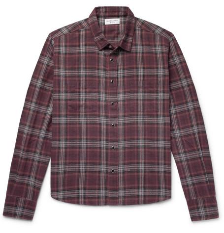 Saint Laurent - Checked Cotton-Flannel Shirt - Men - Purple