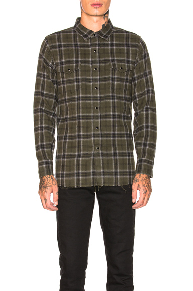 Saint Laurent Classic Western Shirt in Green,Plaid. - size M (also in )
