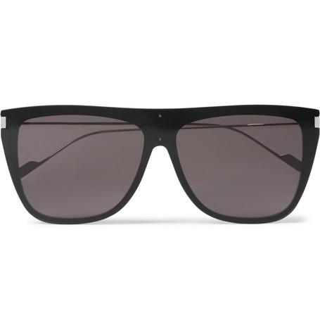 Saint Laurent - D-Frame Acetate and Silver-Tone Sunglasses - Men - Black