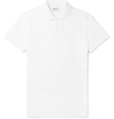 Saint Laurent - Embroidered Cotton-Piqué Polo Shirt - Men - White