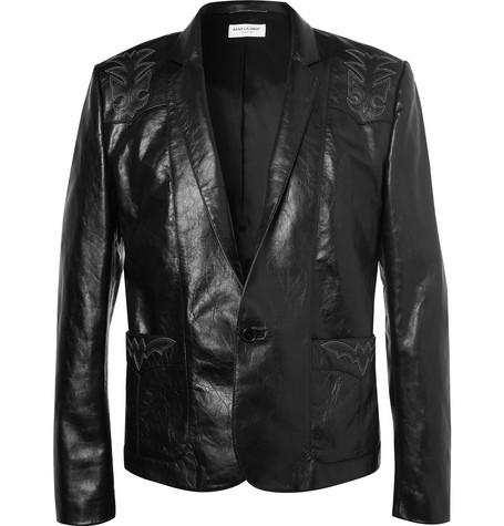 Saint Laurent - Embroidered Leather Jacket - Men - Black