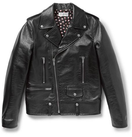 Saint Laurent - Full-Grain Leather Biker Jacket - Men - Black