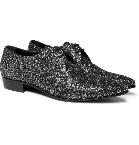 Saint Laurent - Hopper Glittered Leather Derby Shoes - Men - Silver