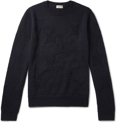 Saint Laurent - Intarsia Wool Sweater - Men - Navy