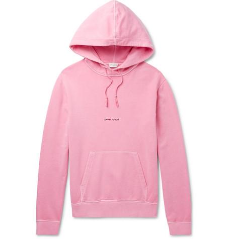 Saint Laurent - Logo-Print Distressed Loopback Cotton-Jersey Hoodie - Men - Pink