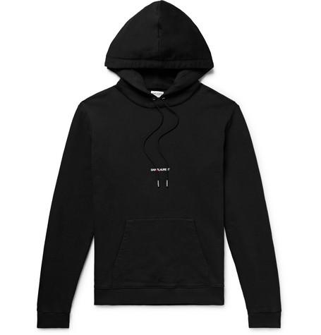 Saint Laurent - Logo-Print Loopback Cotton-Jersey Hoodie - Men - Black