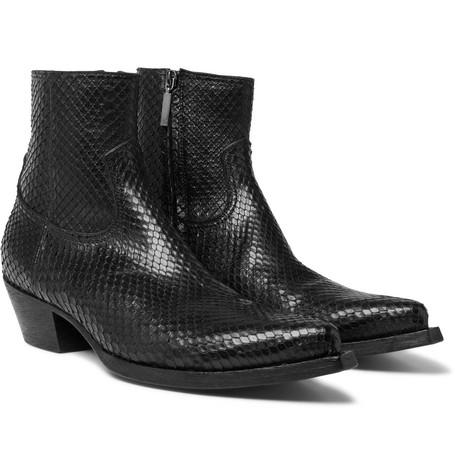 Saint Laurent - Lucas Python Boots - Men - Black