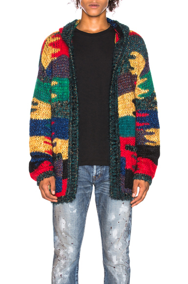 Saint Laurent Patchwork Hooded Cardigan in Abstract,Red,Yellow. - size L (also in S,M)
