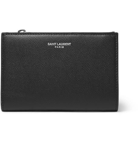 Saint Laurent - Pebble-Grain Leather Billfold Wallet - Men - Black