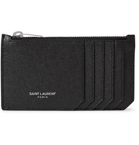 Saint Laurent - Pebble-Grain Leather Cardholder - Men - Black