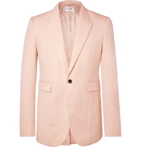 Saint Laurent - Pink Slim-Fit Virgin Wool Blazer - Men - Pink