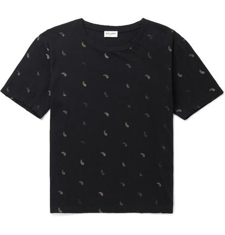 Saint Laurent - Printed Distressed Cotton-Jersey T-Shirt - Men - Black