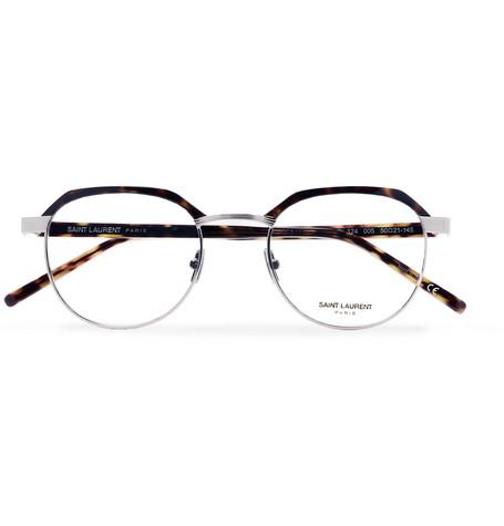 Saint Laurent - Round-Frame Tortoiseshell Acetate and Silver-Tone Optical Glasses - Men - Tortoiseshell