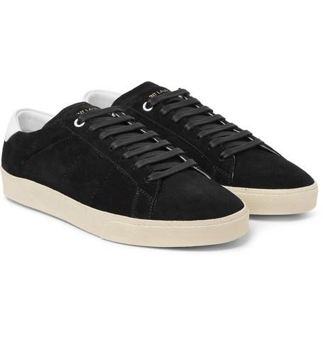 Saint Laurent - SL/06 Court Classic Leather-Trimmed Suede Sneakers - Men - Black