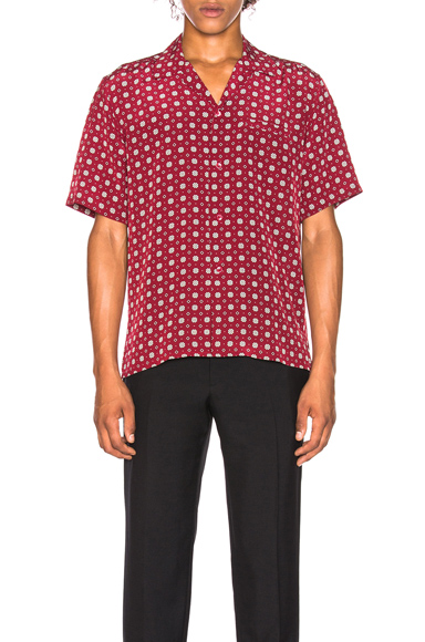 Saint Laurent Short Sleeve Shirt in Abstract,Red. - size 41 (also in 39,40)