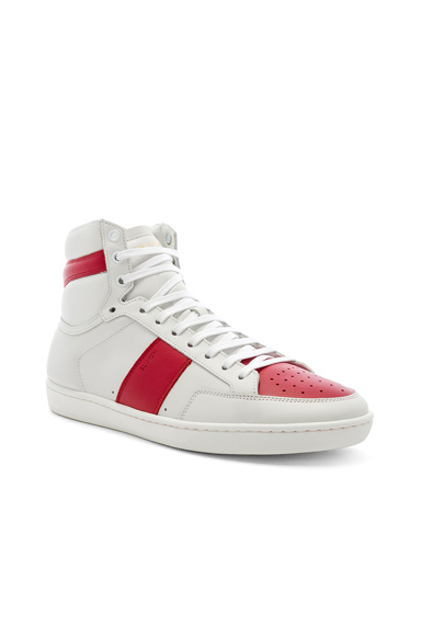 Saint Laurent Signature Court Classic SL/10H Leather Hi-Tops in White. - size 45 (also in 40,41,41.5,42,42.5,43,43.5,44.5)