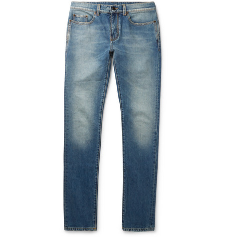 Saint Laurent - Skinny-Fit 15cm Hem Distressed Denim Jeans - Men - Indigo