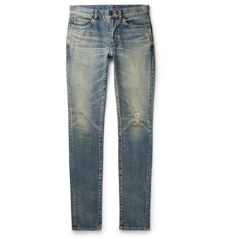 Saint Laurent - Skinny-Fit 15cm Hem Distressed Stretch-Denim Jeans - Men - Blue