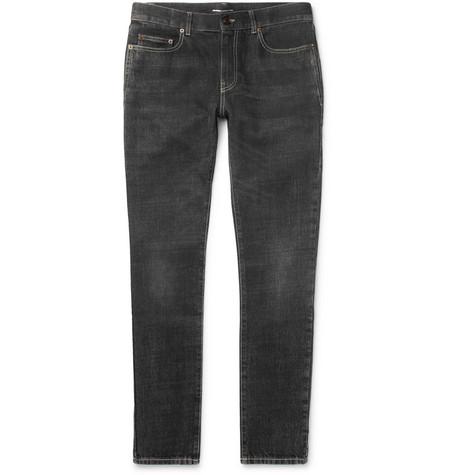 Saint Laurent - Skinny-Fit 16cm Hem Washed-Denim Jeans - Men - Black