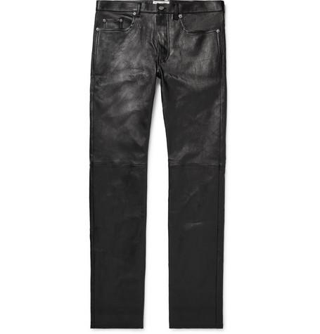 Saint Laurent - Skinny-Fit Leather Trousers - Men - Black
