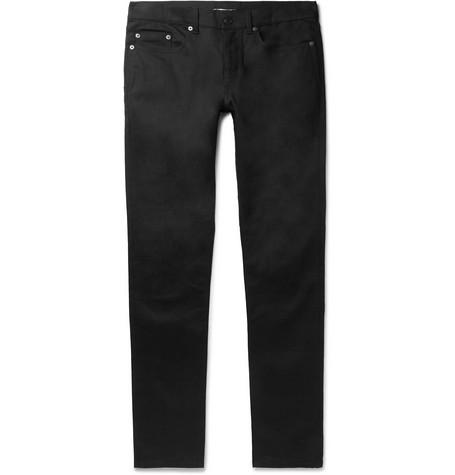 Saint Laurent - Skinny-Fit Raw Stretch-Denim Jeans - Men - Black