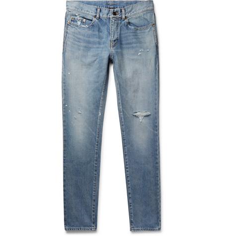 Saint Laurent - Slim-Fit 15cm Paint-Splattered Distressed Denim Jeans - Men - Light denim