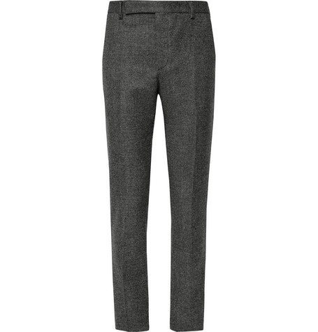 Saint Laurent - Slim-Fit Basketweave Wool Suit Trousers - Men - Gray