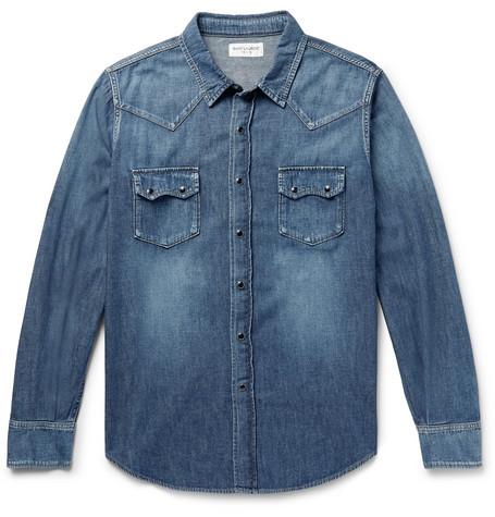 698c680a051c SAINT LAURENT – Slim-Fit Denim Western Shirt – Men – Blue | The ...