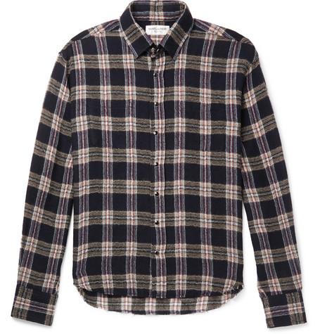 Saint Laurent - Slim-Fit Distressed Checked Wool-Blend Shirt - Men - Blue