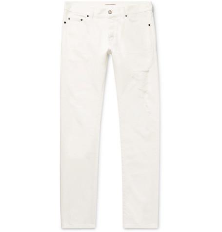 Saint Laurent - Slim-Fit Distressed Denim Jeans - Men - White
