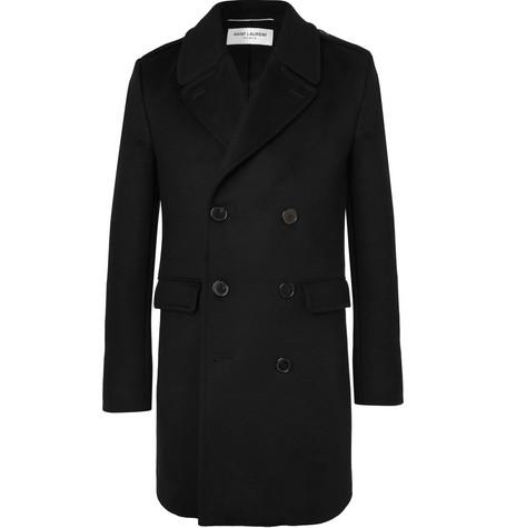 Saint Laurent - Slim-Fit Double-Breasted Virgin Wool and Cashmere-Blend Coat - Men - Black