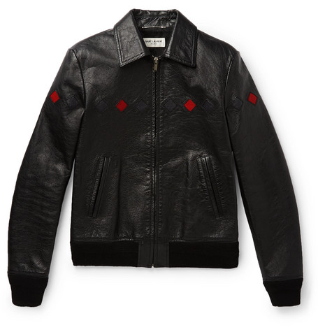 Saint Laurent - Slim-Fit Full-Grain Leather Bomber Jacket - Men - Black
